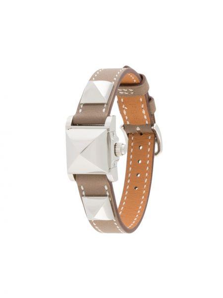 Brązowy zegarek na skórzanym pasku skórzany klamry Hermes