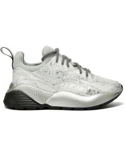 Серебряные кожаные кроссовки на шнуровке Doria Maria