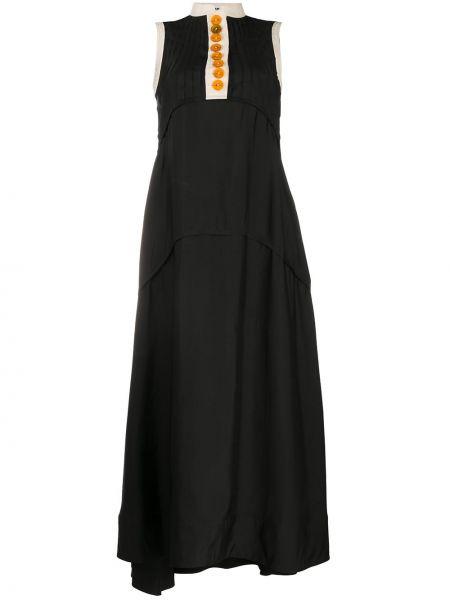 Шелковое платье макси - черное Jil Sander