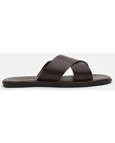 Кожаные шлепанцы - коричневые Plezuro