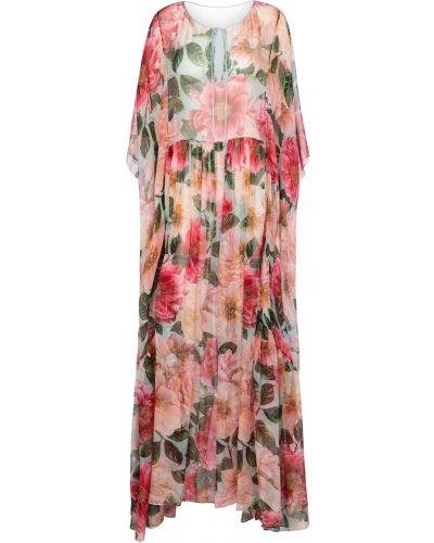 Шелковое розовое платье макси Dolce & Gabbana