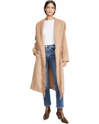Шерстяное длинное пальто для полных с карманами Line & Dot