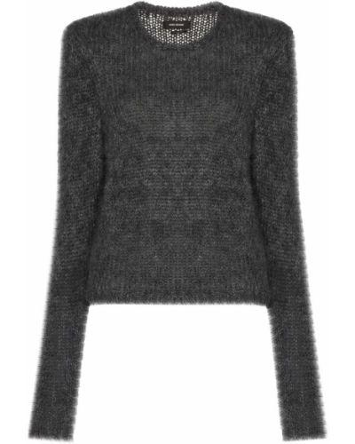 Серый вязаный джемпер из мохера с круглым вырезом с длинными рукавами Isabel Marant