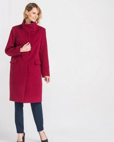 Красное прямое шерстяное пальто с воротником Vovk