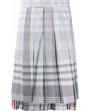 Серая плиссированная юбка на пуговицах Thom Browne