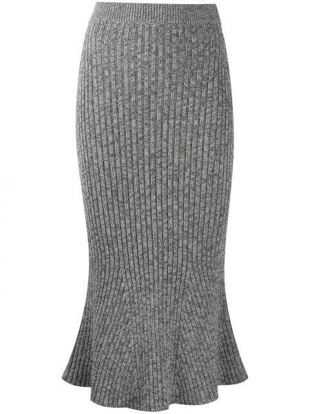 Шерстяная серая расклешенная юбка карандаш с поясом Christopher Kane