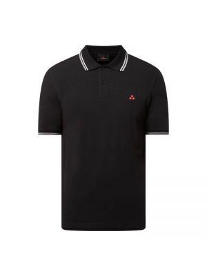 Czarny t-shirt w paski bawełniany Peuterey