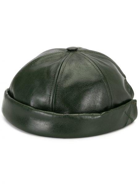 Кожаная с ремешком зеленая шапка без застежки Junya Watanabe Man