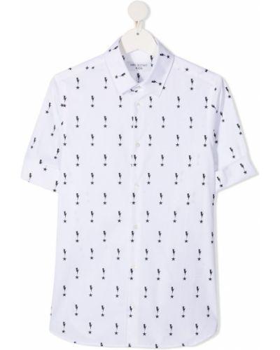 Хлопковая с рукавами белая классическая рубашка Neil Barrett Kids