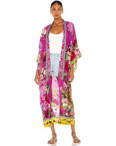 Fioletowy płaszcz z jedwabiu z printem Camilla