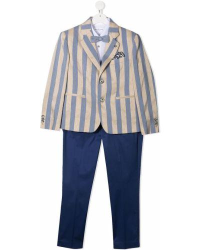 Niebieski garnitur w paski bawełniany Colorichiari