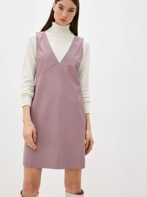 Кожаное платье - розовое Seam