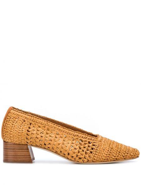Массивные коричневые однобортные туфли-лодочки с квадратным носком Miista