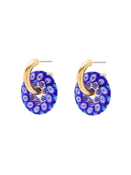 Niebieskie złote kolczyki sztyfty w kwiaty Brinker & Eliza