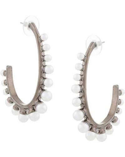 Серьги-кольца с жемчугом металлические Oscar De La Renta