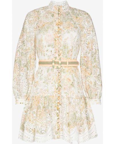 Белое платье с вышивкой на пуговицах с воротником Zimmermann