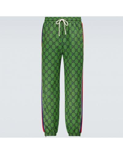 Zielone spodnie dresowe bawełniane vintage Gucci