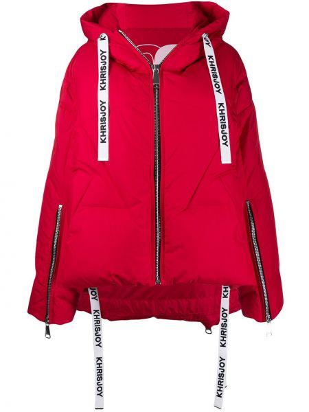 Прямая свободная куртка с капюшоном мятная на молнии Khrisjoy