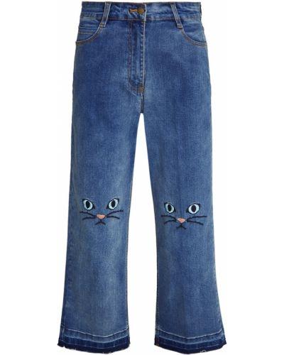 Синие прямые укороченные джинсы с вышивкой Paul & Joe Sister
