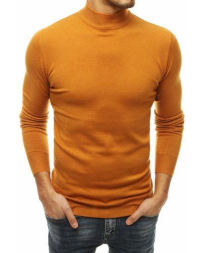 Żółty sweter z akrylu na co dzień Dstreet