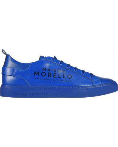 Кожаные кеды - синие Frankie Morello