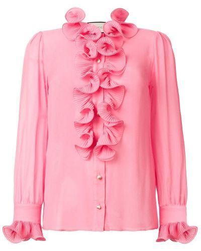 Блузка с длинным рукавом шелковая длинная Gucci