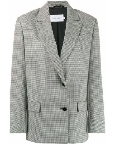 Однобортный черный удлиненный пиджак с карманами Calvin Klein