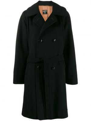 Черное шерстяное кожаное пальто с воротником на пуговицах Jean Paul Gaultier Pre-owned