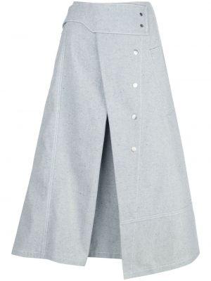 Хлопковая синяя джинсовая юбка с карманами 3.1 Phillip Lim