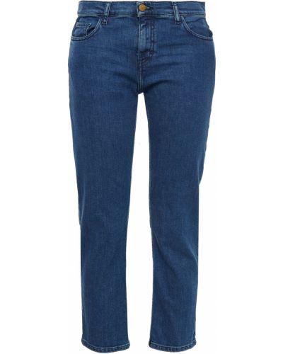 Прямые синие укороченные джинсы с вышивкой Ba&sh