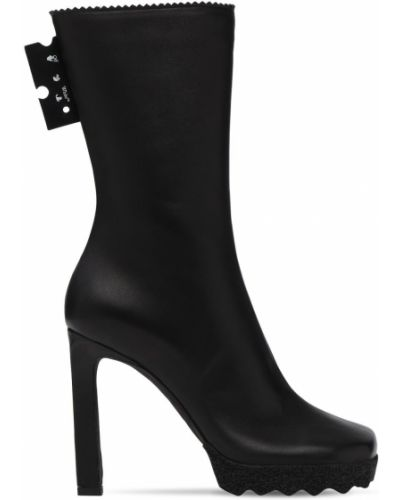 Skórzany czarny buty obcasy prążkowany plac Off-white