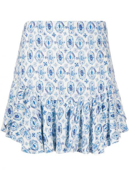 Плиссированная синяя юбка мини на молнии с оборками Ava Adore