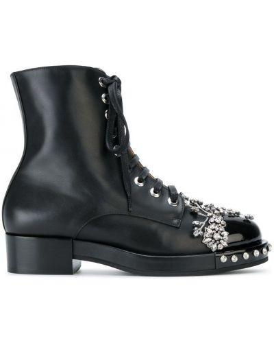 Кожаные ботинки черные на шнуровке N21
