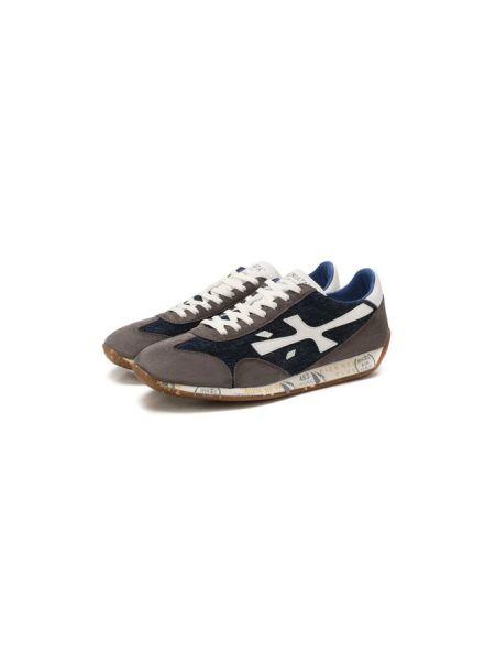 Синие комбинированные текстильные кроссовки с подкладкой Premiata