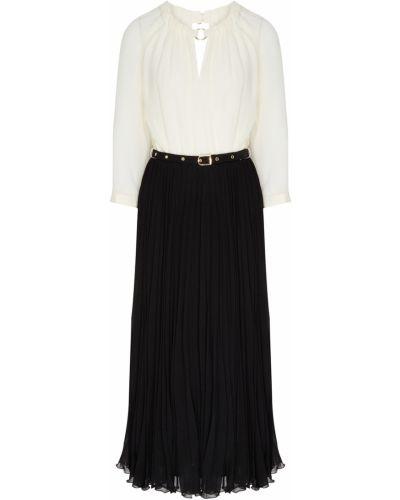 Шифоновое белое платье миди с поясом Laroom