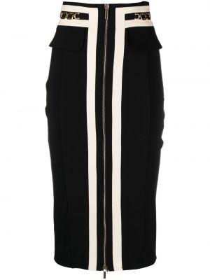 Черная прямая с завышенной талией юбка миди Elisabetta Franchi