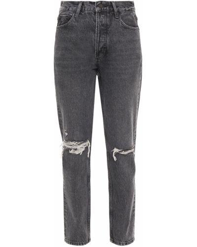 Szare jeansy bawełniane z paskiem Anine Bing