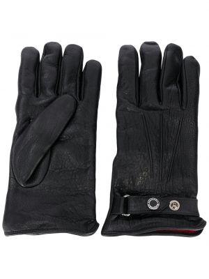 Kaszmir czarny skórzany rękawiczki prążkowany za pełne Alexander Mcqueen
