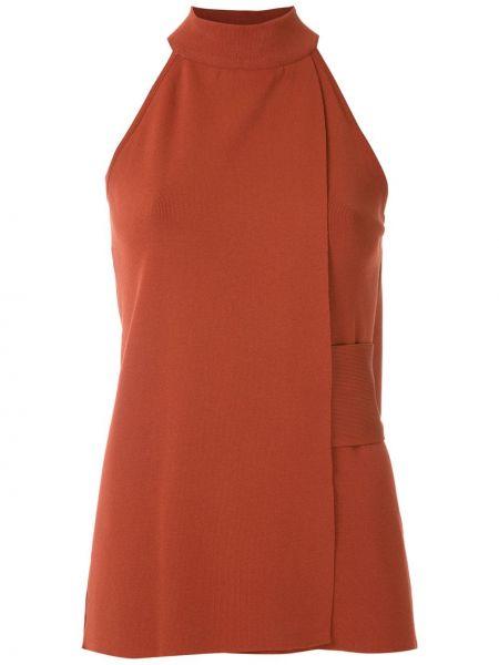 Красная блузка без рукавов с воротником узкого кроя из вискозы Egrey