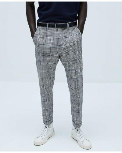 Серые брюки в клетку с карманами Zara