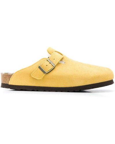Kapcie na platformie - żółte Birkenstock