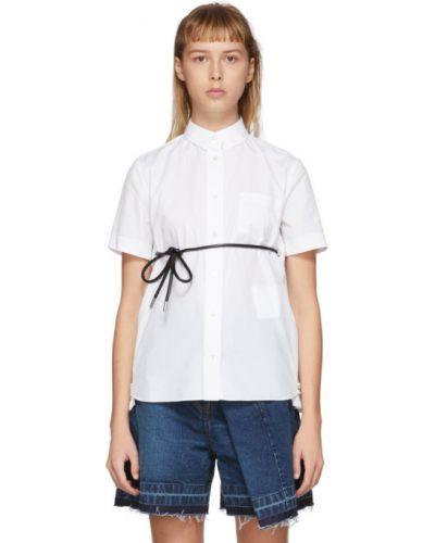 Кожаная с рукавами белая рубашка Sacai