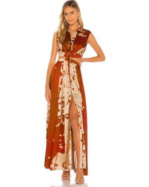 Pomarańczowa satynowa sukienka Petersyn