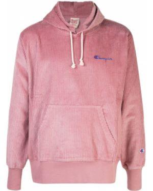 Толстовка с капюшоном розовая Champion