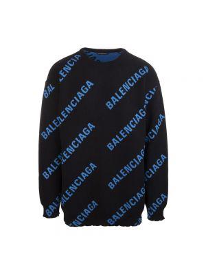 Czarny długi sweter z długimi rękawami z printem Balenciaga