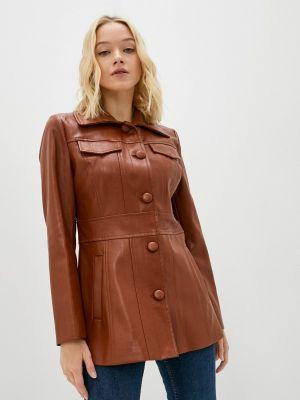 Коричневая зимняя кожаная куртка Sisley