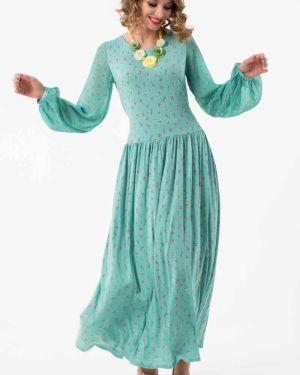 Платье макси с цветочным принтом с поясом Wisell