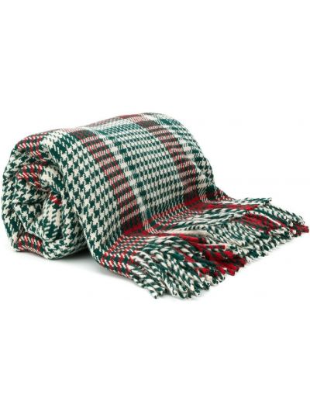 Вязаный зеленый шарф с бахромой из овчины Holland & Holland