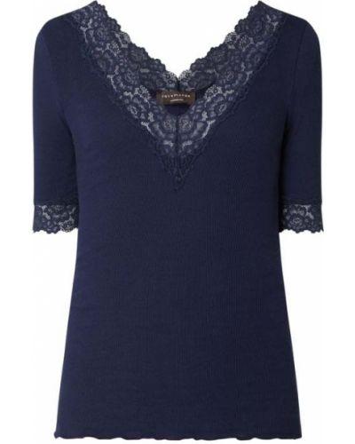 Niebieski t-shirt bawełniany z dekoltem w serek Rosemunde
