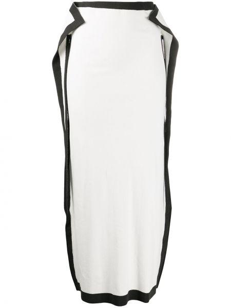 Белая нейлоновая юбка с драпировкой Issey Miyake